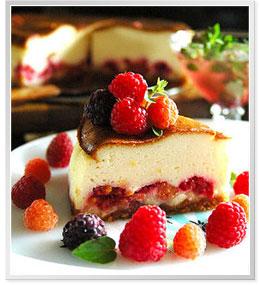 ラズベリーとチョコのホワイトチーズケーキ